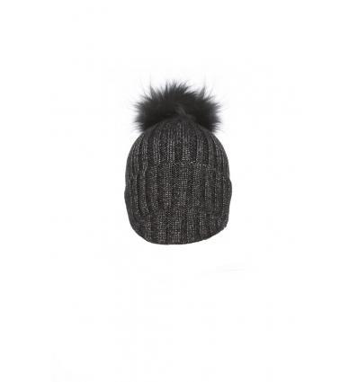 Bonnet en laine avec pompon en renard - Noir denim