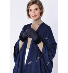 Paire de gants bleus effet nubbuck avec poignets en lapin uni