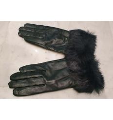 Paire de gants verts avec poignets en lapin uni