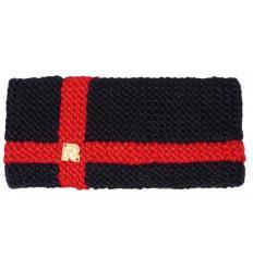 Bandeau tricots dentés unis avec 2 bandes