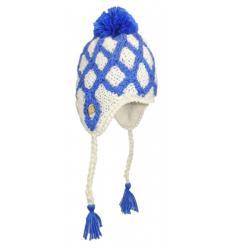 Bonnet Péruvien tricots losanges bicolores avec Pompon