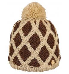 Bonnet bicolore en tricots losanges avec Pompon
