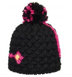 Bonnet noir avec Ligne colorée et Pompon bicolore