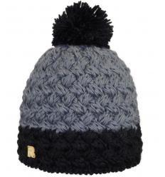Bonnet en tricots croisés bicolores avec Pompon