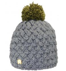 Bonnet bicolore en tricots croisés avec Pompon
